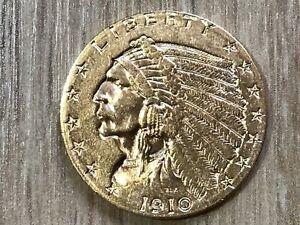 2 1/2 Dollar 1910 USA Gold Indian Head #133/2#