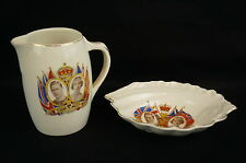 Vintage 1937 Coronation Commemorative English Porcelain set of 2 [Y8-W7-A9-E9]