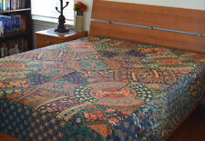 Cotton Blue Red Green Color Block Printed Floral Camel Flat Bed Sheet from India