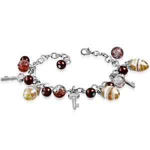 Brown Golden Pearl Glass Bead Dangly Key Charm Bracelet nickel free jewellery UK