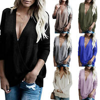 Womens Wrap V Neck Loose Plain Long Sleeve Sweater Sweatshirt Jumper Tops Blouse