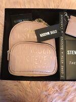 🍀Steve Madden 2 Pc Gift Set Logo Backpack Cardholder Keychain Blush New W 🏷