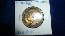 """J.F.Kennedy Bronze Medal 1 1/4"""" Ask Not Quote on Reverse Chain Loop"""