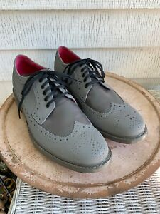 COLE HAAN MENS 11 WINGTIPS LEATHER BROGUE OXFORD SHOES GREY PINK