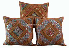 "SET OF 3 INDIAN HANDMADE ZARI WORK 16X16"" COTTON CUSHION COVER ETHNIC ART  X1Z2"