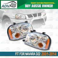 Pair of Head Light lamps for Nissan Navara D22 2001-2014 Replacement Left+Right