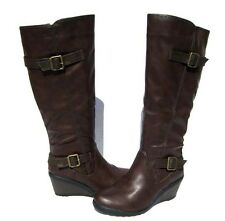 Women's Fur Lined Boots Brown Knee High Wedge Shoes Winter Snow Ladies size 10