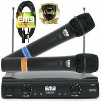 EMB Pro Dual Channels VHF Wireless Microphone Handheld HIFI Stereo w/ Cables