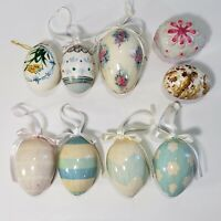 "Hanging Easter Eggs Variety 2 1/2"" Painted Pastels Decoupage Ceramic Lot 9 Vtg"