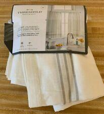 Curtain Tiers - Cream/Gray Plaid Border - Threshold™