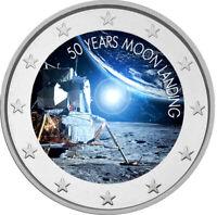 2 Euro Gedenkmünze mit Mondlandung coloriert mit Farbe / Farbmünze / Mondstation