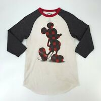 Disney Ringer Tee Shirt Women's Size M Raglan 3/4 Sleeve Checkered Mickey Mouse