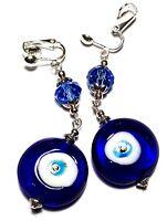 Long Silver Blue Evil Eye Clip On Earrings Glass Bead Drop Dangle Artisan Boho