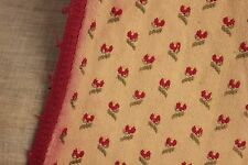 Curtain Vintage Fabric Upholstery weight brocade cotton floral red & green