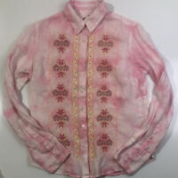 Robert Graham Womens Small Button Front Shirt Linen Embroidered Pink Tie Dye