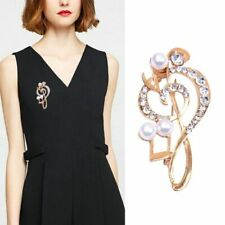 Musical Note Brooch Pins Crystal Rhinestone Scarf Clip Gift Scarf Buckle Pearl