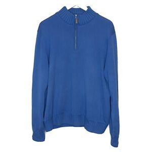 Martin Men's Pullover Golf Sweater Blue Half Zip Sz Large 100% ITALIAN MERINO