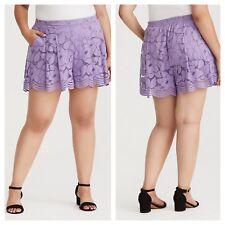 Torrid Purple Floral Lace Shorts Sz 0 12 0x #96868