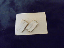 "Vintage Costume Jewlery Earrings (Clip Ons) 1"" White Acrylic Ablong Gold trim"