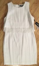 NEW Karl Lagerfeld 12 White Silver Detail Striped Fringe Dress Sleeveless Lined