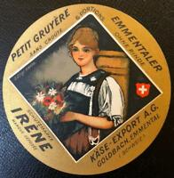 ORIGINAL VINTAGE SWISS CHEESE LABEL - IRENE PETIT GRUYERE - 1950s