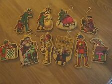Vintage Christmas Ornaments (10) Wood Old Time Holiday Scenes 2-sided Santa Toys