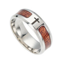 8mm Band Ring Tungsten Steel Cross Wood Men's Stainless Steel Inlaid Size 7-12