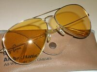 58-14 VINTAGE BAUSCH &LOMB RAY-BAN GEP ALL-WEATHER AMBERMATIC AVIATOR SUNGLASSES