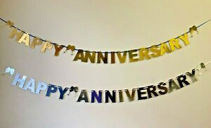 Personalised Wedding Anniversary Bunting Party Decoration Banner Golden Silver