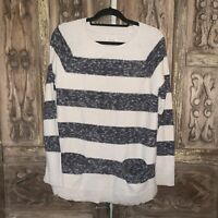 Lou & Grey Women's Size Large Knit Sweater Long Sleeve Striped Ivory and Gray