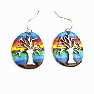 Gay Lesbian LGBT Pride 80 90s Punk Parade Rainbow Tree of Life Earrings Ear Ring