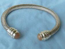 Vintage Sterling Cuff Bracelet, 9mm Moonstones, 7 & 1/4 inches, Konder #381