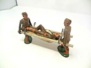 VINTAGE BARCLAY MANOIL WW1 TOY SOLDIERS CARRYING WOUNDED SOLDIER ON STRETCHER