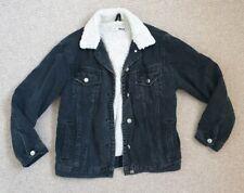 Topshop Moto Black Denim Fur Jacket ladies oversized ladies size 4 6 8 10