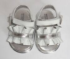 Michael Kors Girls 3 Infant Baby Free 888 Sandals Shoes Ruffles White Silver New