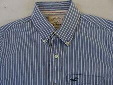 Hollister Men's Long Sleeve Button Down Blue & White Striped Dress Shirt - M
