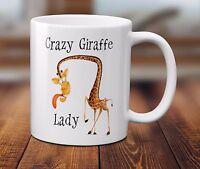 Crazy Giraffe Lady Mug Cup Funny Animal Lover Zoo Beware Gift Coffee Tea 320ml