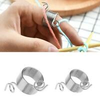 2 Size Ring Knitting Tools Finger Wear Yarn Spring Guides Needle Thimble Crafts