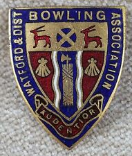Vintage Watford & District Bowling Association Enamel Pin Badge
