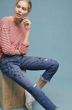 NWT Anthroologie Pilcro Distress Embroidery Sequin Star Slim Boyfriend Jean 31