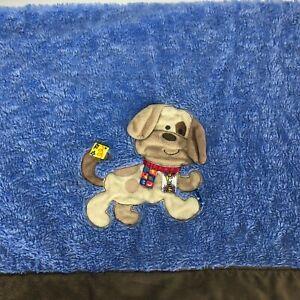 "Taggies Blanket Security Crib Dog Puppy Swirl Blue Brown Edge Size 30"" X 40"""
