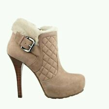 GUESS OMELDA ANKLE BOOTIES LIGHT NATURAL SUEDE HIGH HEELS FAUX FUR TRIM SIZE 10