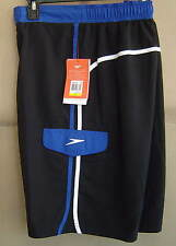NWT $48 SPEEDO Mens S PENINSULA E-BOARD Swim Water Shorts BLACK BLUE 7840349