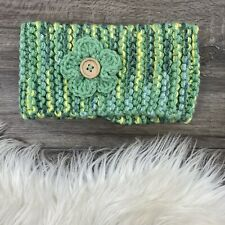 Hand Knit Headband with Crochet Flower and Button Girls Youth