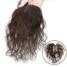 UK 100% Human Hair Curly Topper Toupee Top Hair Piece Cover Grey Hair 5 x8 cm