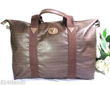 Vintage Mario VALENTINO Brown Coated Canvas Duffel Gym Luggage Bag Tote