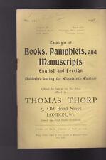 Thomas Thorp Catalog 211 1938 Books Pamphlets Manuscripts