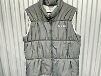Nike Womens Gray Full Zip Collared spellout Puffer Vest Jacket Size Large