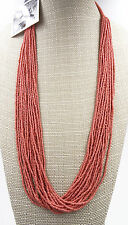 New Coral Seed Bead Necklace by Anthropologie NWT