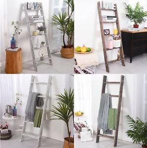 """54"""" Wood Blanket Ladder Leaning Shelf Bookcase Bookshelf Quilt Rack Farmhouse"""